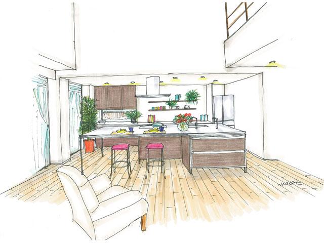 家事スペースと趣味も楽しめるアイランド型キッチン