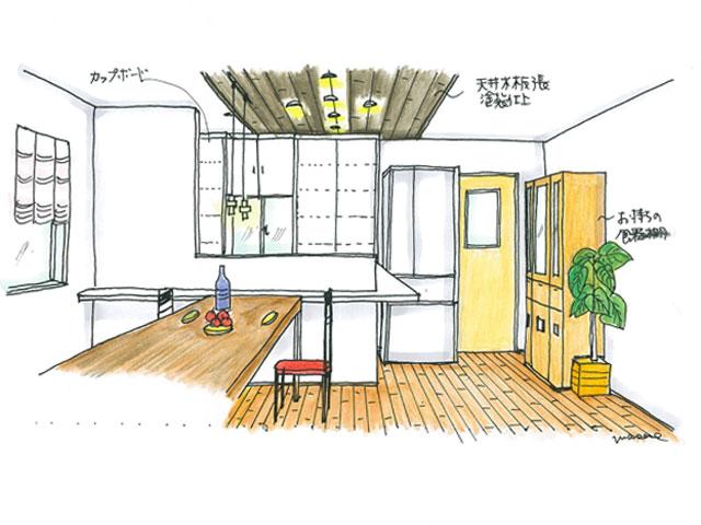 天井の一部を板張りアクセントとした対面型のI型キッチン