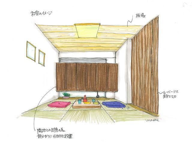 琉球畳とルーバーの和室